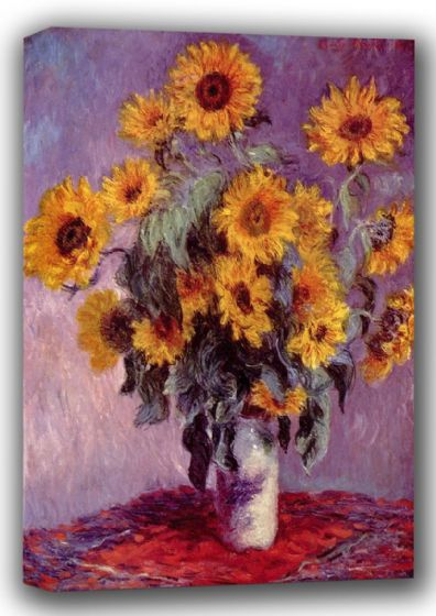 Monet, Claude: Still Life with Sunflowers. Fine Art Canvas. Sizes: A4/A3/A2/A1 (001355)